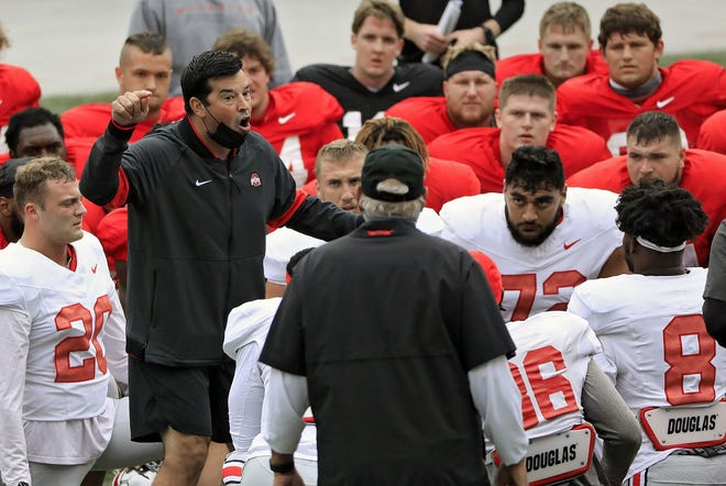 Along with coaching football, Ohio State coach Ryan Day also spends a good part of his day reminding his players about remaining safe during the coronavirus pandemic.