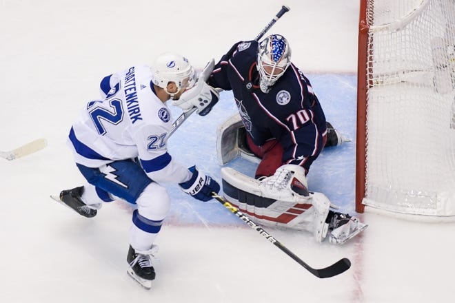 Blue Jackets goaltender Joonas Korpisalo had some strong moments in the Stanley Cup postseason, including in a first-round playoffs loss to the Tampa Bay Lightning.