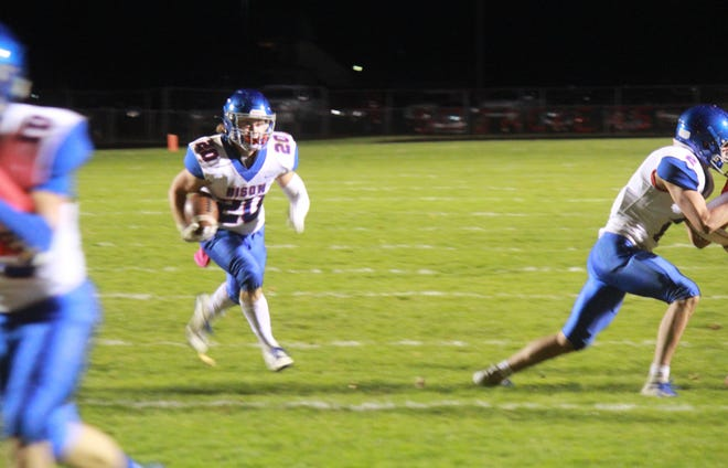 Fort LeBoeuf running back Jack Rimpa finds an opening on the way to an 11-yard touchdown in the second quarter against Girard on Friday, Oct. 16, 2020, at Battles Memorial Field.
