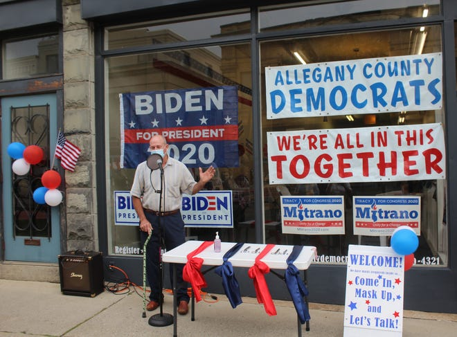 Allegany County Democratic Committee Chairman Michael McCormick speaks at the opening of headquarters on Main Street Wellsville in August.