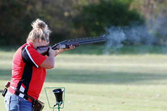 Kristen Conley, Wayland, a member of the Southeastern Community College Sports Shooting team warms up before participating in a virtual match against North Iowa Community College Wednesday, Oct. 14, at the Montrose Gun Club.