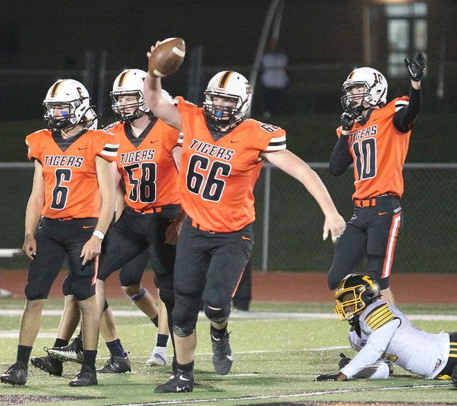 Kirksville's Owen Fraser celebrates a fumble recovery last year in a 33-0 win against Fulton.