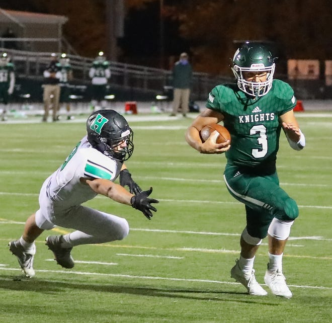 Nordonia quarterback Billy Levak runs for a touchdown during a game earlier this season. Levak threw for two touchdowns in the Knights' 55-31 playoff loss at Mayfield Oct. 16.