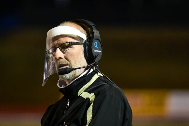 Lubbock High head coach Shane Stephen paces the sideline against Randall during a nondistrict game Friday at PlainsCapital Park at Lowery Field.