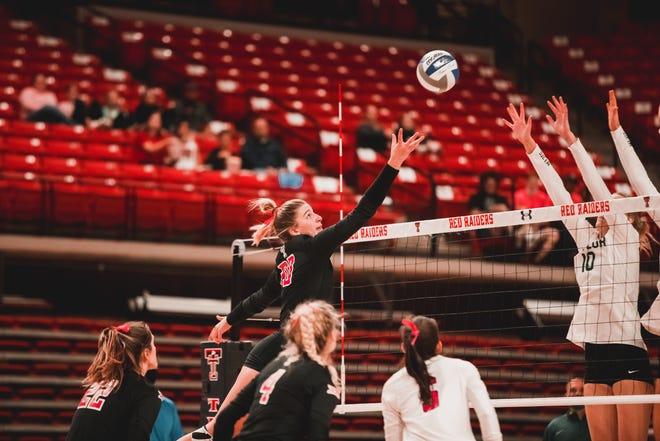 Texas Tech outside hitter Mackenzie Morgan goes up at the net during the Red Raiders' loss to No. 2 Baylor in five sets Friday at United Supermarkets Arena.