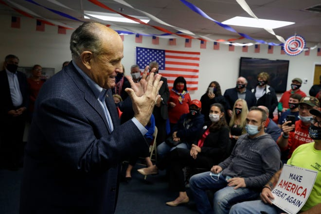 Former New York Mayor Rudy Giuliani speaks Monday during a Columbus Day gathering at a President Donald Trump campaign field office in Philadelphia.