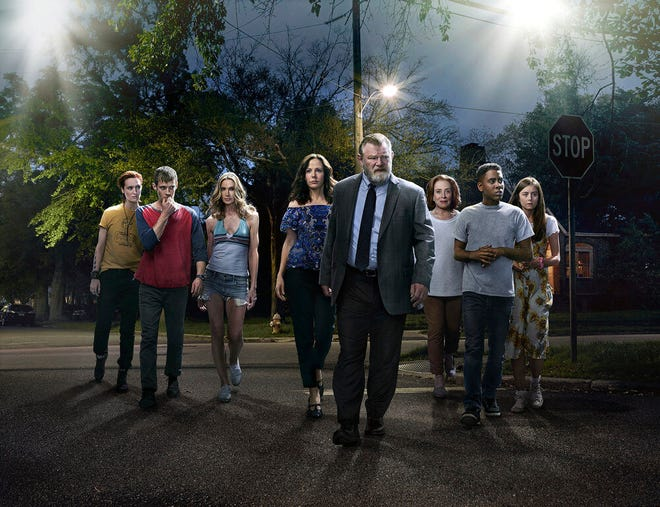 "This image released by Peacock shows, from left, Breeda Wool, Harry Treadaway, Kelly Lynch, Mary-Louise Parker, Brendan Gleeson, Holland Taylor, Jharrel Jerome and Justine Lupe from the series ""Mr. Mercedes,"" based on a Stephen King trilogy."