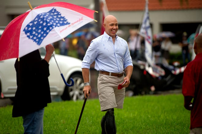 Rep. Brian Mast arrives at an event featuring Donald Trump Jr. on Oct. 16 in West Palm Beach.