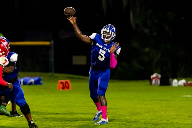 P.K. Yonge quarterback Aaron Small Jr. was responsible for the first touchdown of the night for the Blue Wave, but opponent Dixie County would score the last 35 points of the contest to take a 42-13 victory on Friday night.