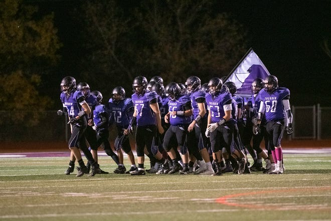 The Rye High School football team take the field for the first home game of the season against Peyton on Oct. 16. [CHIEFTAIN PHOTO/ZACHARY ALLEN]
