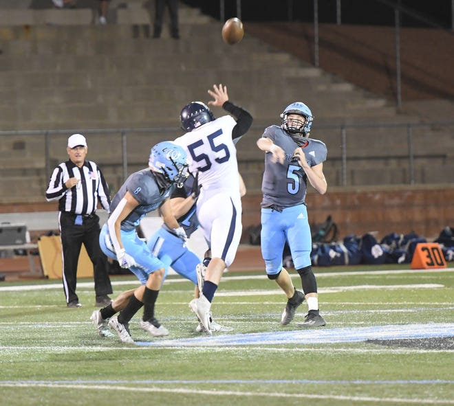 Pueblo West junior quarterback Cole Brinkley throws a pass during the Cyclones 33-0 Class 4A Southern League victory over Air Academy at Cyclones Stadium on Friday. Brinkley threw for two scores and ran for two others in the win.