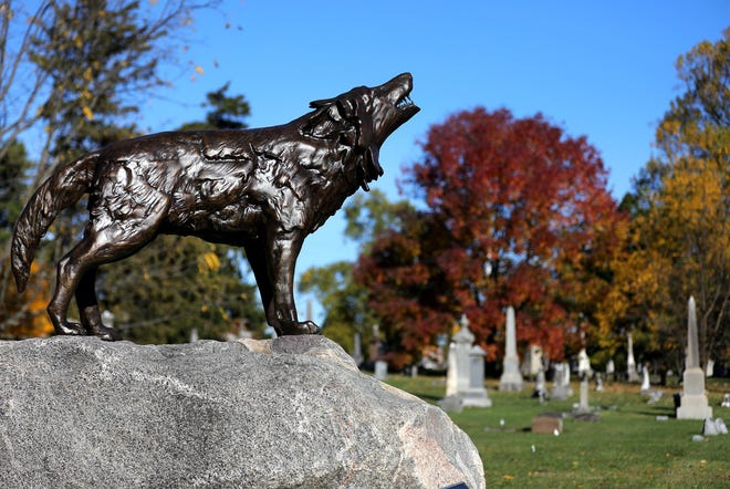 When the city's North Cemetery was closed in the 1880s, most of the interments were moved to Green Lawn Cemetery, but there never has been a dedicated monument to them. On Oct. 16, a statue of a wolf was dedicated in their honor.