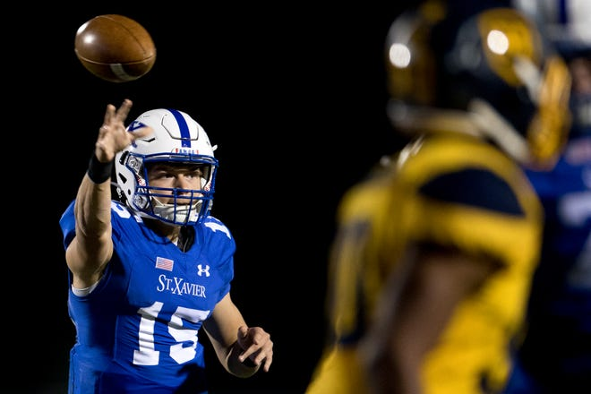 Quarterback Brogan McCaughey and St. Xavier will meet  Pickerington Central  at Fortress Obetz in southeast Columbus on Friday.