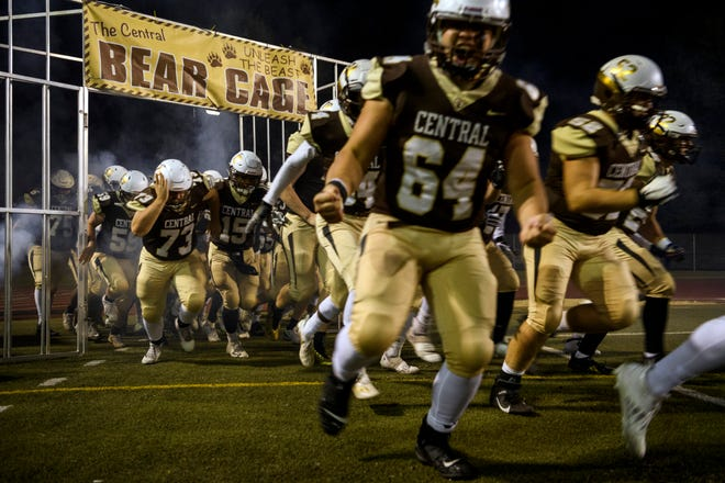 The Central football team takes the field against North on Oct. 16, 2020. Former defensive coordinator Andrew Zirkelbach was named the new coach of the Bears on Monday.