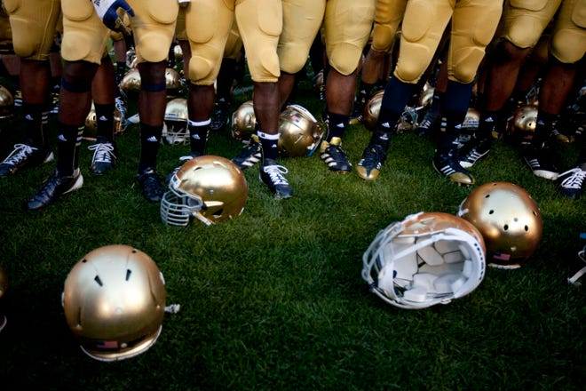 A South Bend Tribune archive photo from Notre Dame football coverage. As part of Notre Dame's COVID-19 safety protocols, photojournalists were not allowed Saturday inside Notre Dame Stadium for the game against Louisville.