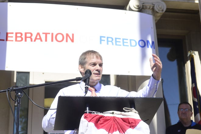 U.S. Rep.  Jim Jordan, R-Urbana, addressed a crowd of more than 100 Trump supporters on Saturday in front of the Crawford County Courthouse.