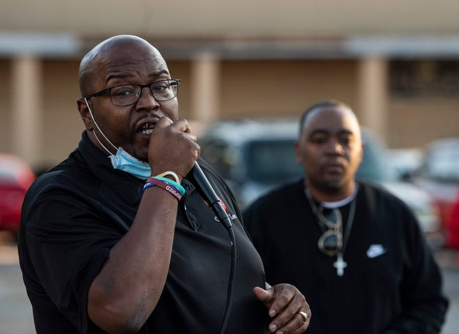 Charles Lee speaks during a ceremonial reveal of a billboard honoring murder victims on the South Boulevard in Montgomery, Ala., on Friday, Oct. 16, 2020.