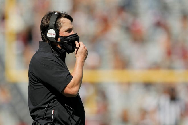 South Carolina coach Will Muschamp coaches against Auburn on Saturday October 17, 2020.