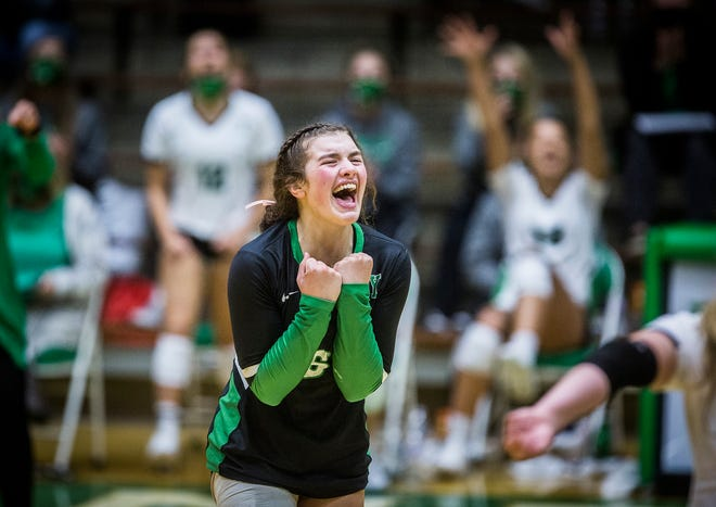 Yorktown's Jenny Morey celebrates a point against New Castle during their game at New Castle High School Saturday, Oct. 17, 2020.