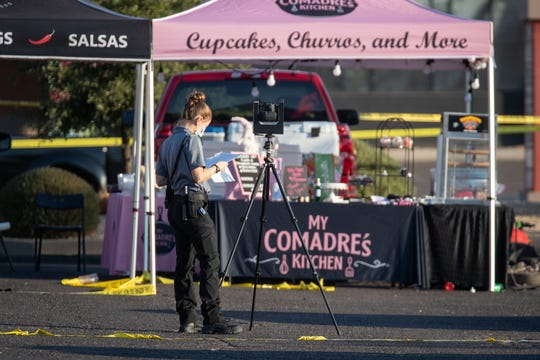Mesa police are investigating a multiple shooting on October 17, 2020 in a parking lot near the Dobson and Guadalupe roads in Mesa.  At least seven people were shot dead in an accident the night before.