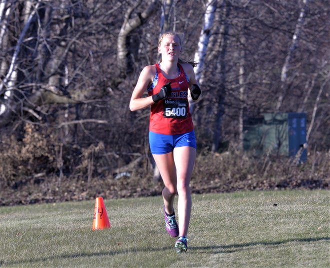 Apollo's Brooke Verkinnes is the first Eagle to finish for the team on Friday, October 16, 2020 at Greenwood Golf Course in Bemidji for the Section 8AA girls cross country meet.