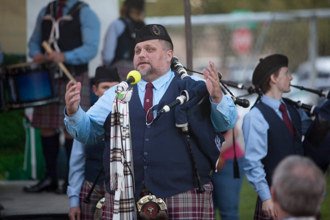The Salt Lake Scots perform at the RedStone Highland Games at Sandtown Park Friday, Oct. 16, 2020.