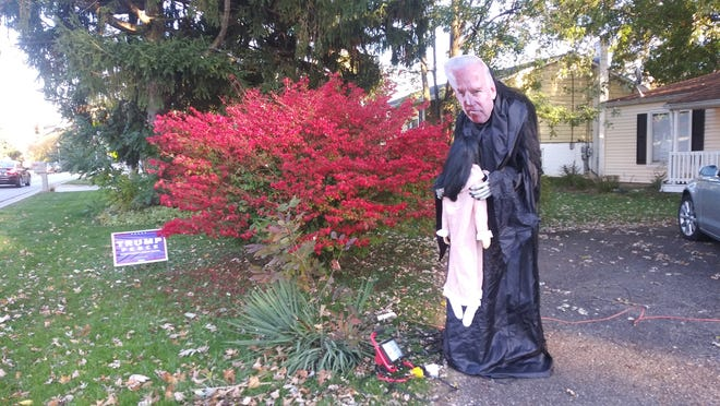Fairlawn resident Ryan Detzel's Halloween display depicting Democratic presidential candidate Joe Biden as a witch has sparked both negative and positive reactions, Detzel said Saturday.