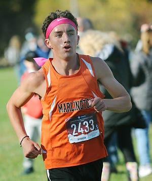 Marlington's Noah Graham finishes in 1st place with a time of 16:37.57 at the Eastern Buckeye Conference Cross Country Championship race Saturday, October 17, 2020 at Waterworth Memorial Park in Salem.