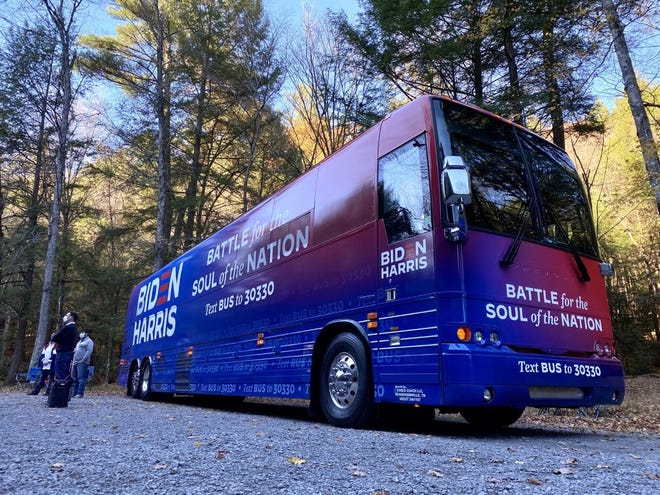 """Joe Biden's """"Battle for the Soul of the Nation"""" bus, without the candidate, is set to tour battleground Ohio this week."""