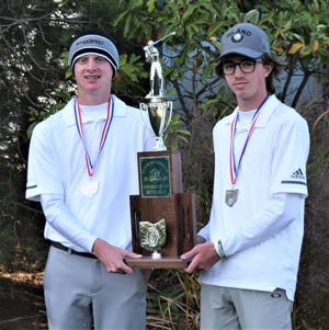 Hiland's top two golfers, Carter Mishler (left) and Brookston Hummel earned first team All-Ohio honors with their top four finishes at the state tournament. Their effort, combined with Kenny Weaver and Nathan Kline's scores helped the Hawks finish second overall behind Canton Central Catholic.