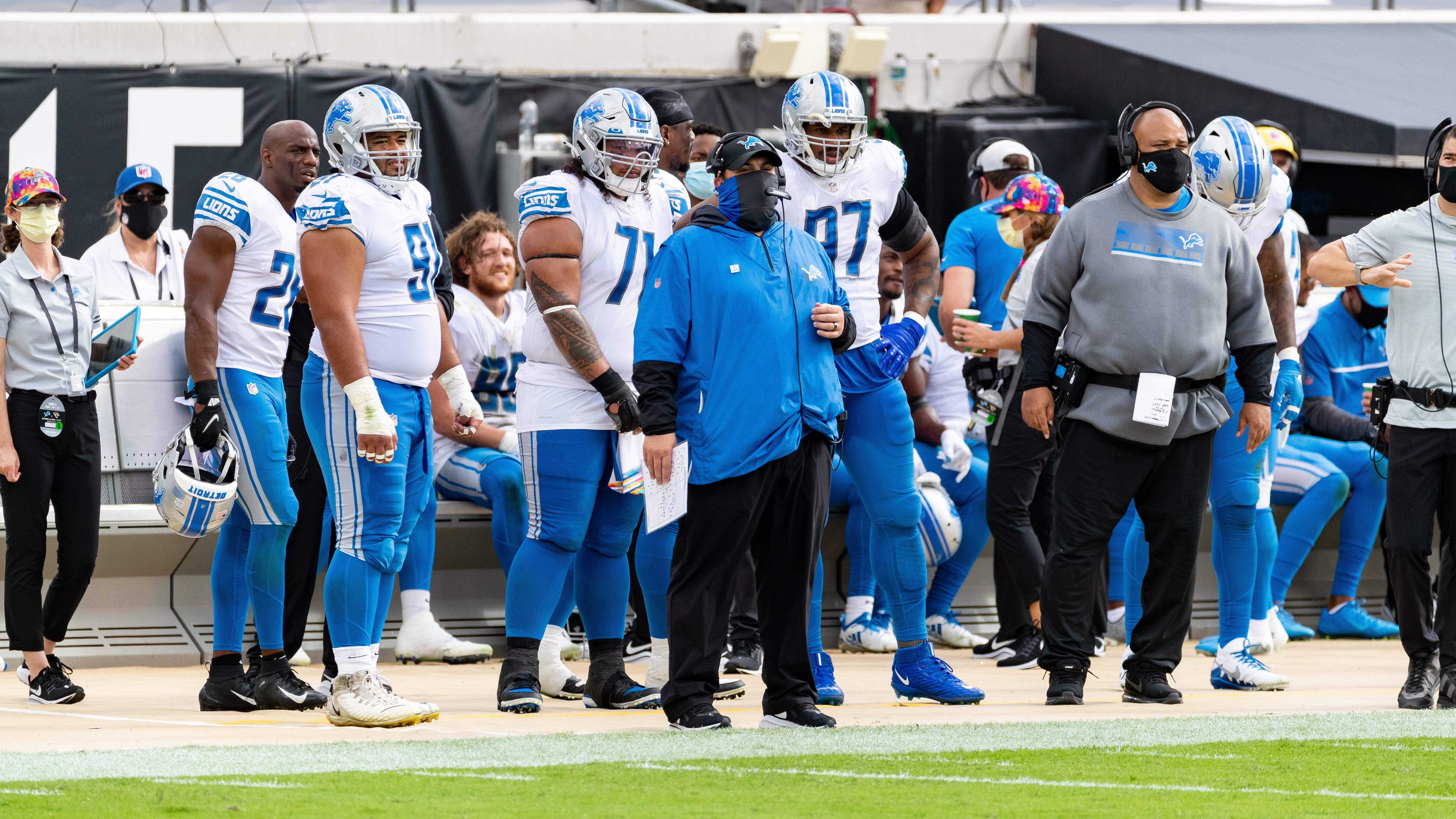 Detroit Lions head coach Matt Patricia, center, during the game against the Jacksonville Jaguars at TIAA Bank Field on Sunday, October 18, 2020.