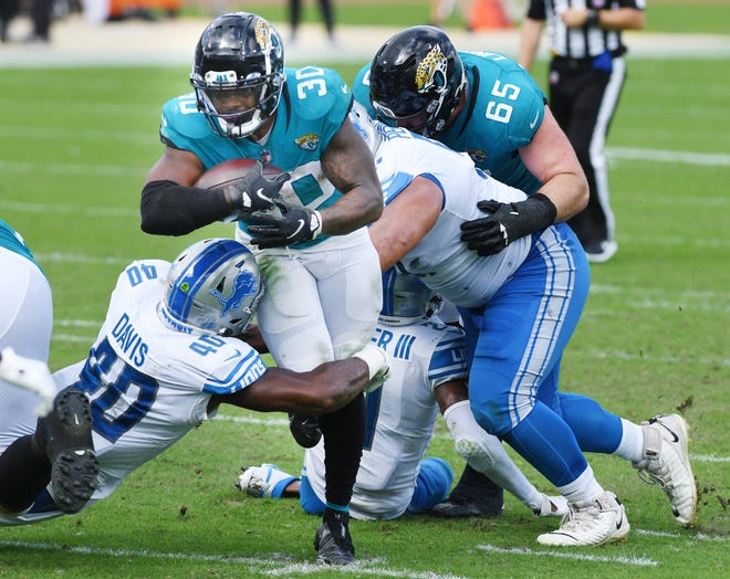 Jaguars running back James Robinson had a season-low of 29 yards on Sunday against Detroit.