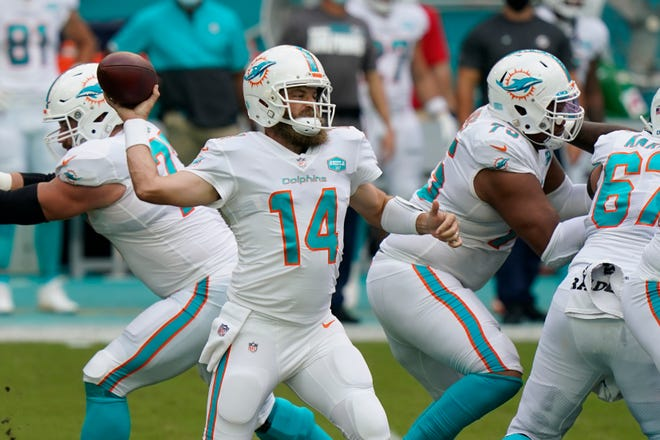 Miami Dolphins quarterback Ryan Fitzpatrick (14) looks to pass the ball during the first half against the New York Jets on  Sunday in Miami Gardens.