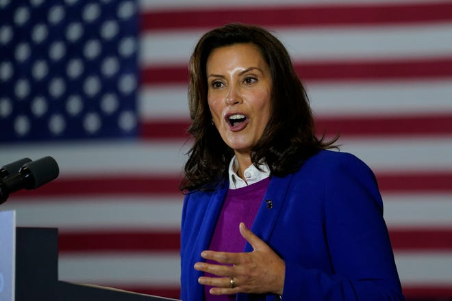 Michigan Governor Gretchen Whitmer speaks at Beech Woods Recreation Center in Southfield, Mich., on Friday.