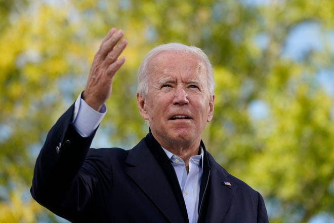 Democratic presidential candidate former Vice President Joe Biden speaks during a campaign event at Riverside High School in Durham, N.C., on Sunday.