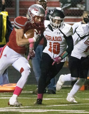 Northwest's Braden Mick beats Girard's Triston Valley to the end zone for a touchdown during the second quarter Saturday, Oct. 17, 2020. (Special to The Canton Repository / Bob Rossiter)