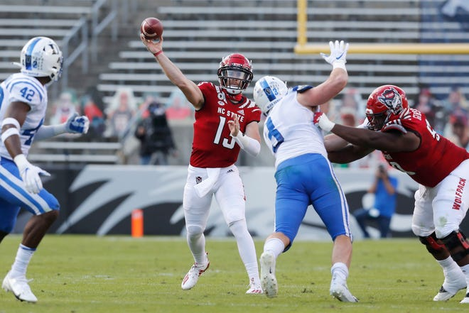 N.C. State's sophomore quarterback Devin Leary suffered broken fibula in third quarter of Saturday's game against Duke.