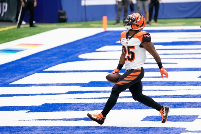 Cincinnati Bengals' Giovani Bernard celebrates after running for a touchdown during the first half of an NFL football game against the Indianapolis Colts, Sunday, Oct. 18, 2020, in Indianapolis.