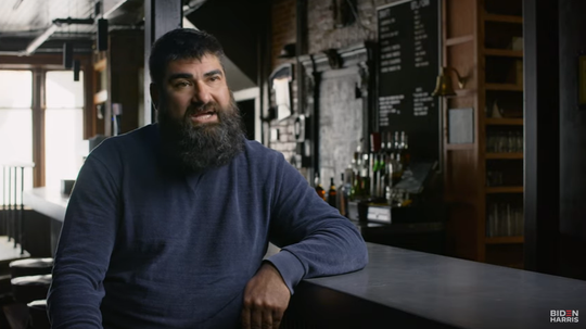 Joe Malcoun, owner of the Blind Pig in Ann Arbor, speaks during an advertisement for Democratic presidential nominee Joe Biden. The ad aired Sunday, Oct. 18, 2020.