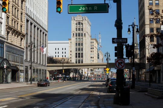 An empty street downtown on April 8, 2020 in Detroit.