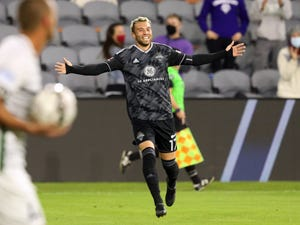 Louisville City FC's Cameron Lancaster (17) celebrates his goal against Saint Louis FC's during the first half of play in the USL Eastern Conference semifinal game at Lynn Family Stadium in Louisville, Kentucky, on Saturday, Oct. 17, 2020.