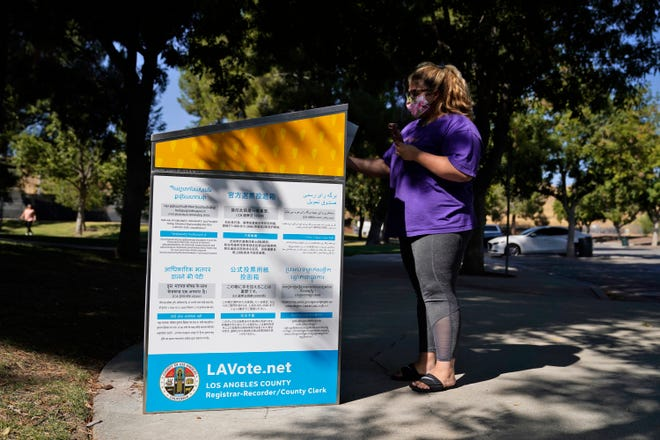 An official ballot drop box is seen Oct. 14, 2020, in Santa Clarita, Calif.