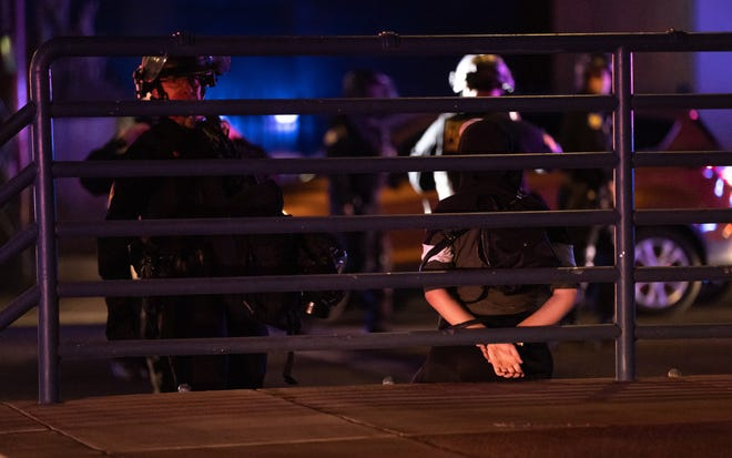 Phoenix police arrested 18 people at a protest on Oct. 17, 2020, in downtown Phoenix.