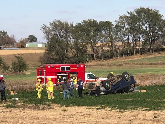 Crews responded to a rollover crash around 2 p.m. at Highway 42 and 483rd Avenue near Rowena.