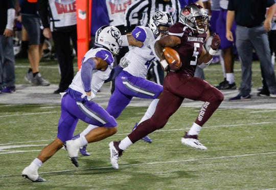 Jeremiah Wilson, of Missouri State, runs the ball during the Bears game against University of Central Arkansas in their home opener at Plaster Stadium on Saturday, Oct. 17, 2020.
