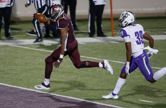 Jeremiah Wilson, of Missouri State, scores a touchdown during the Bears game against University of Central Arkansas in their home opener at Plaster Stadium on Saturday, Oct. 17, 2020.