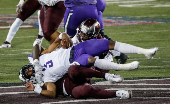 Eric Johnson, of Missouri State, sacks the quarterback during the Bears game against University of Central Arkansas in their home opener at Plaster Stadium on Saturday, Oct. 17, 2020.