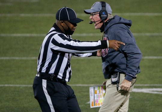 Missouri State head coach Bobby Petrino argues with the referee during the Bears game against University of Central Arkansas in their home opener at Plaster Stadium on Saturday, Oct. 17, 2020.