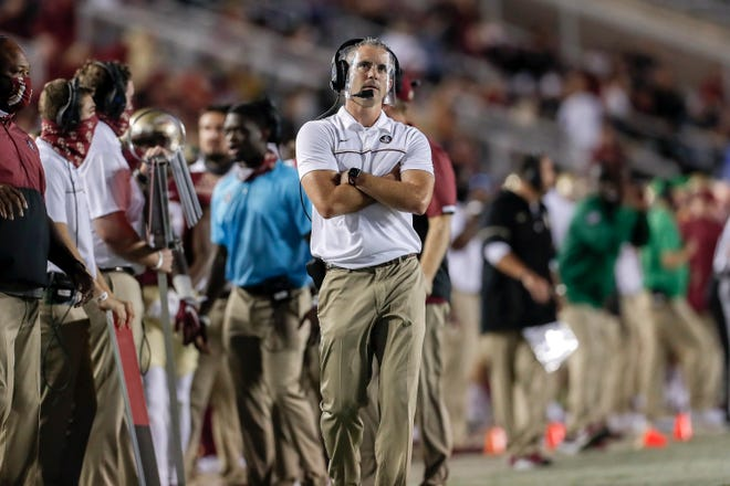 TALLAHASSEE, FL - OCTOBER 17: Head Coach Mike Norvell of the Florida State Seminoles on the sidelines during the game against the North Carolina Tar Heels at Doak Campbell Stadium on Bobby Bowden Field on October 17, 2020 in Tallahassee, Florida. Florida State upset #5 ranked North Carolina 31 to 28.