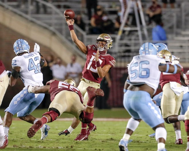 Florida State quarterback Jordan Travis (13) on a passing play during the game against the North Carolina Tar Heels at Doak Campbell Stadium on Oct. 17, 2020.
